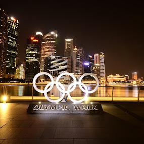 Olympic Walk Singapore by Gonzalo Ruiz - City,  Street & Park  Night ( olympic )
