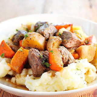 Beef Stew with Roasted Winter Vegetables.