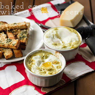Baked Eggs with Creamy Greens and Toast Fingers