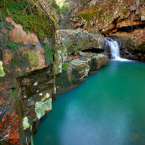 Mossy Falls  by William Rainey  - Landscapes Waterscapes ( mountains, ouachitas, national forests, arkansas )