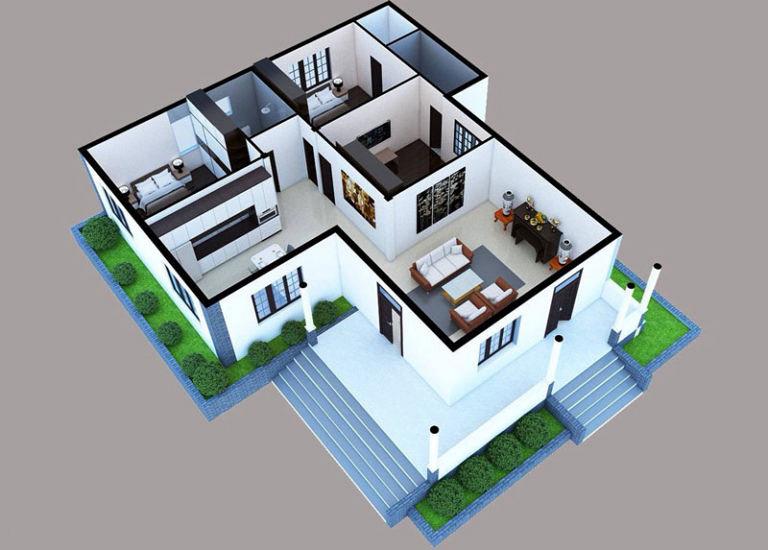 Bản thiết kế căn nhà chữ L với 2 phòng ngủ