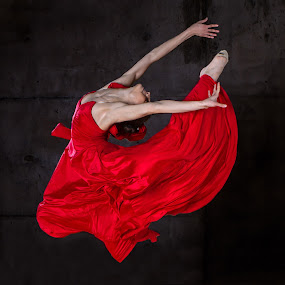 Flight in red by Irina Popova - People Fine Art ( women, lady, red )