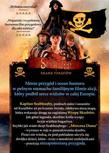 Tył ulotki filmu 'Kapitan Szablozęby i Skarb Piratów'