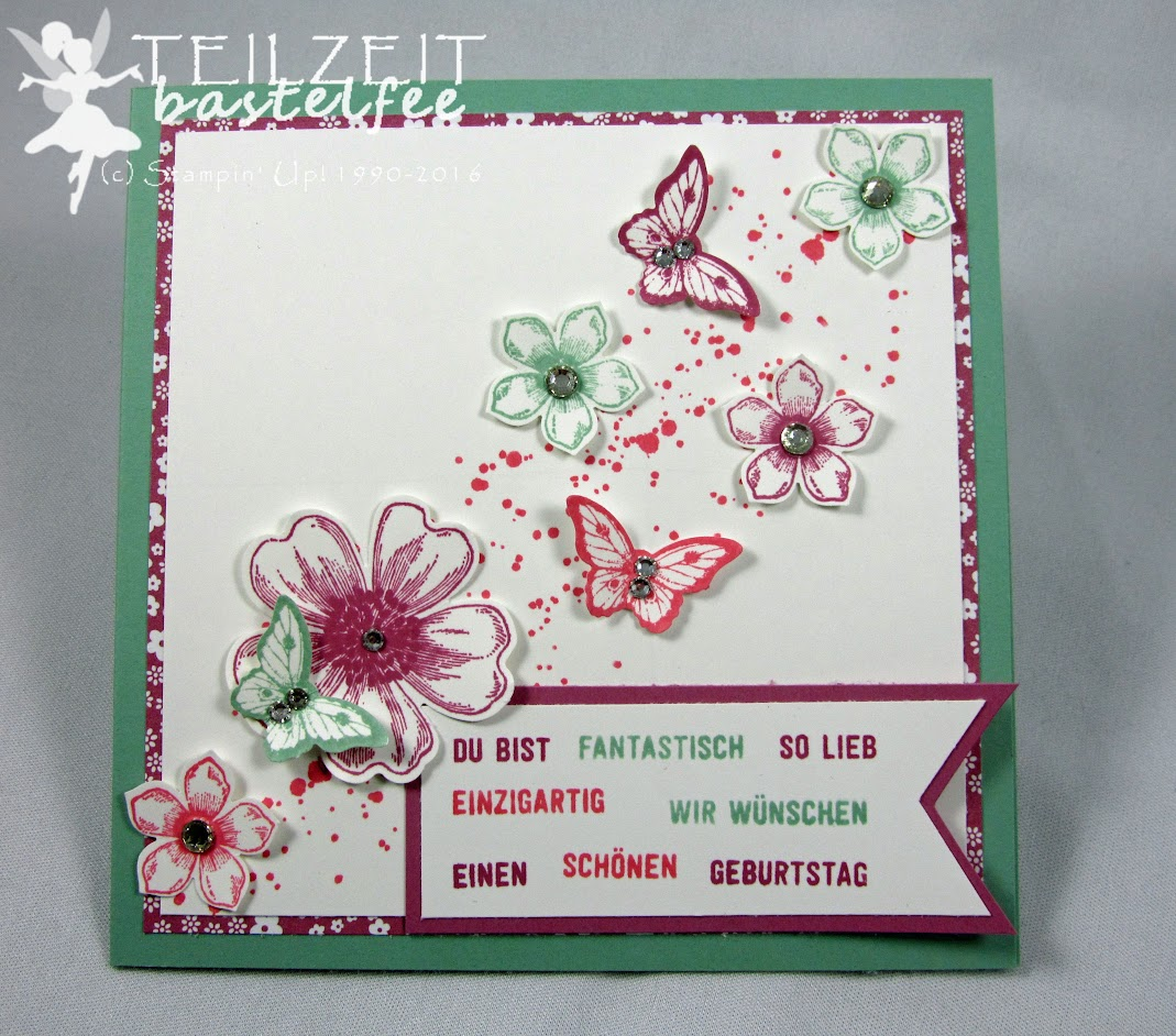Stampin' Up! – Flower Shop, Papillon Potpourri, Petite Petals, Banner Framelits, Gorgeous Grunge, Bannerweise Grüße, Thoughtful Banners, Birthday, Geburtstag
