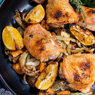Meyer Lemon Roasted Chicken Thighs, Fennel and Sweet Potatoes