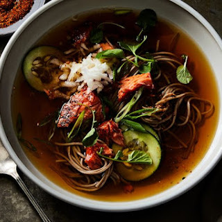 Hot Soba Noodle Soup with Salmon, Cucumber, and Togarashi.