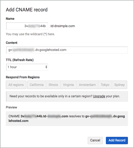 All fields of the CNAME records are completed and the Add record button is selected.