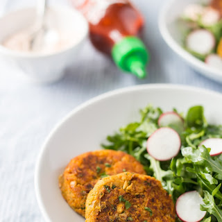 Sweet Potato-Chickpea Patties with Sriracha-Yogurt Dip.
