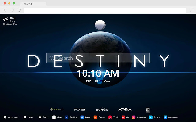 Destiny New Tab Page HD Popular Games Theme