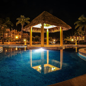 Reflecting the Night by Kenton Knutson - Buildings & Architecture Office Buildings & Hotels ( calm, reflection, playa del carmen, pool, mexico, palm trees, night, relaxing,  )
