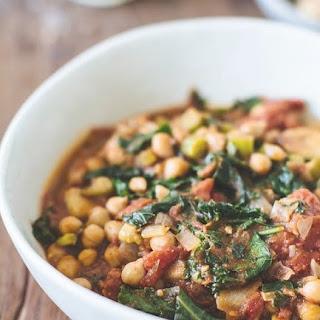 Vegan Spiced Chickpea + Kale Stem Stew