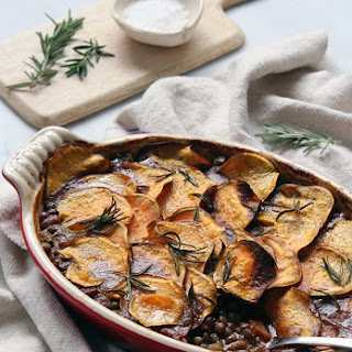 Kumara, Lentil and Mushroom Bake (Vegan).
