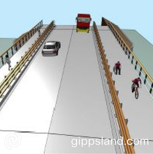 The new bridge accommodates pedestrians and cyclists with a shared path on the south side and a second pedestrian path on the north side