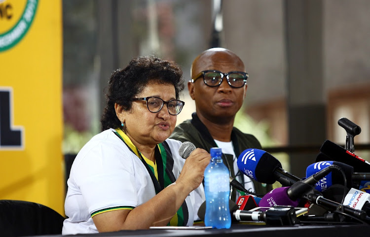 ANC deputy secretary-general Jesse Duarte addresses the media about the latest on the party's credentials during the 54th ANC National Elective Conference taking place at Nasrec on Sunday. Picture: MASI LOSI