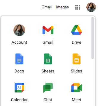 When looking for Google Calendar, make sure to click on the grid icon.