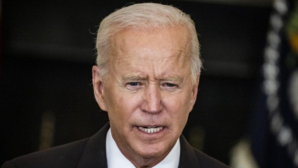 U.S. President Joe Biden speaks in the State Dining Room of the White House in Washington, D.C., U.S., on Thursday, Sept. 9, 2021.