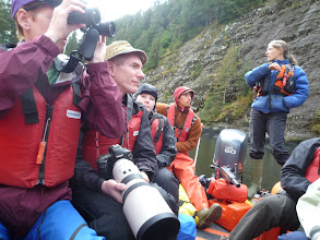 Photo: On the Zodiac, in Mussell Inlet waiting for grizzly bears to appear.  Photo by Ben.