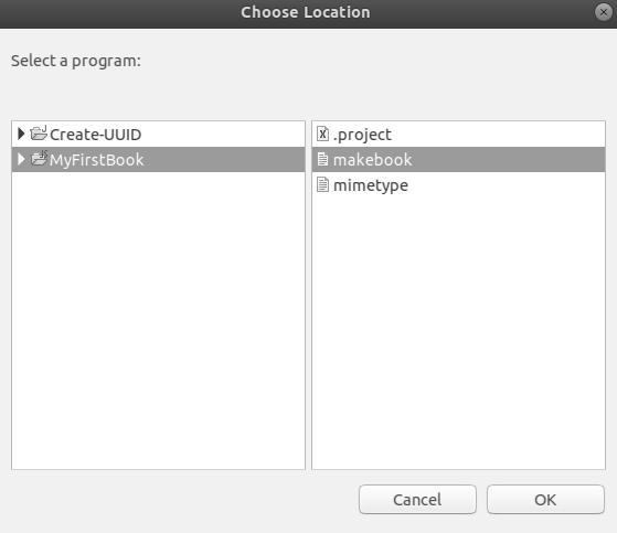 Select a program: makebook