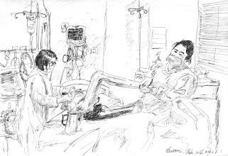 Photo: ICU 2011.02.24鋼筆 聖母醫院ICU的護理師們細心地一邊跟老人家聊天,一邊幫忙洗澡…