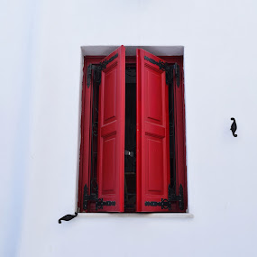 Red Window of Mykonos by Lorna Littrell - Buildings & Architecture Other Exteriors ( red, window, greece, architectural detail,  )