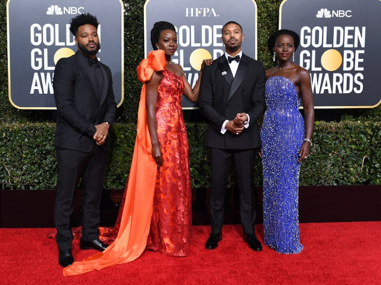 (From right) Actress Lupita Nyong'o, Actor Michael B. Jordan, Actress Danai Gurira and director Ryan Coogler arrive for the 76th annual Golden Globe Awards on January 6, 2019, at the Beverly Hilton hotel in Beverly Hills, California.