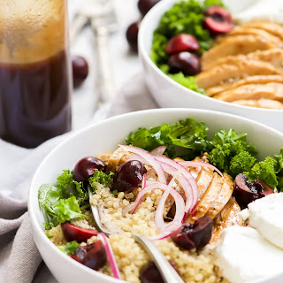 Honey Balsamic Glazed Chicken Quinoa Bowls with Cherries