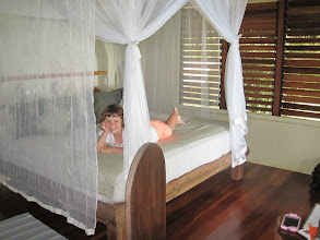 Photo: Charlotte inside the cabina. The girls slept in a loft upstairs.