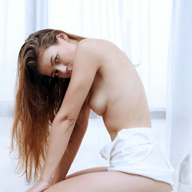 Hide&Seek by ObjeKtiva Artphoto - Nudes & Boudoir Artistic Nude ( lingerie, sensual, woman, hidding, beauty, feminine, sexy, teasing, hot, viktoriia aliko, seminude, boudoir, sensuality, model, boudoir photography, nude, eye contact )