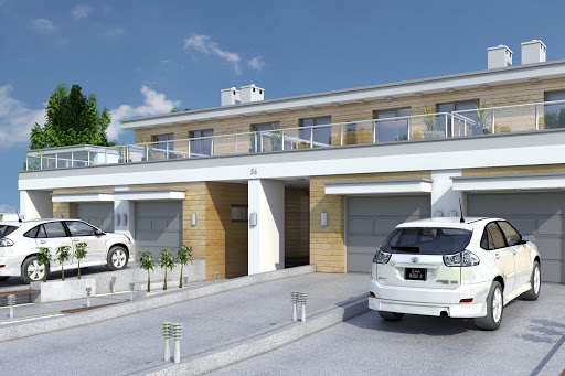 projekt Long II z garażem 1-st. szeregówka A-SZ