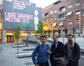 """Photo: Ramón, Timothée and Martin in front of the LGM building 's big screen ; sentence were cycling. Epic  : """"Who do I call when the software breaks?"""""""
