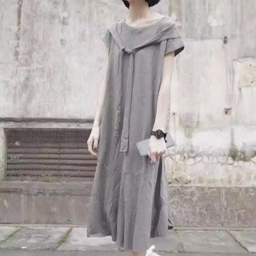 短衫簡約綁帶連身裙 灰色