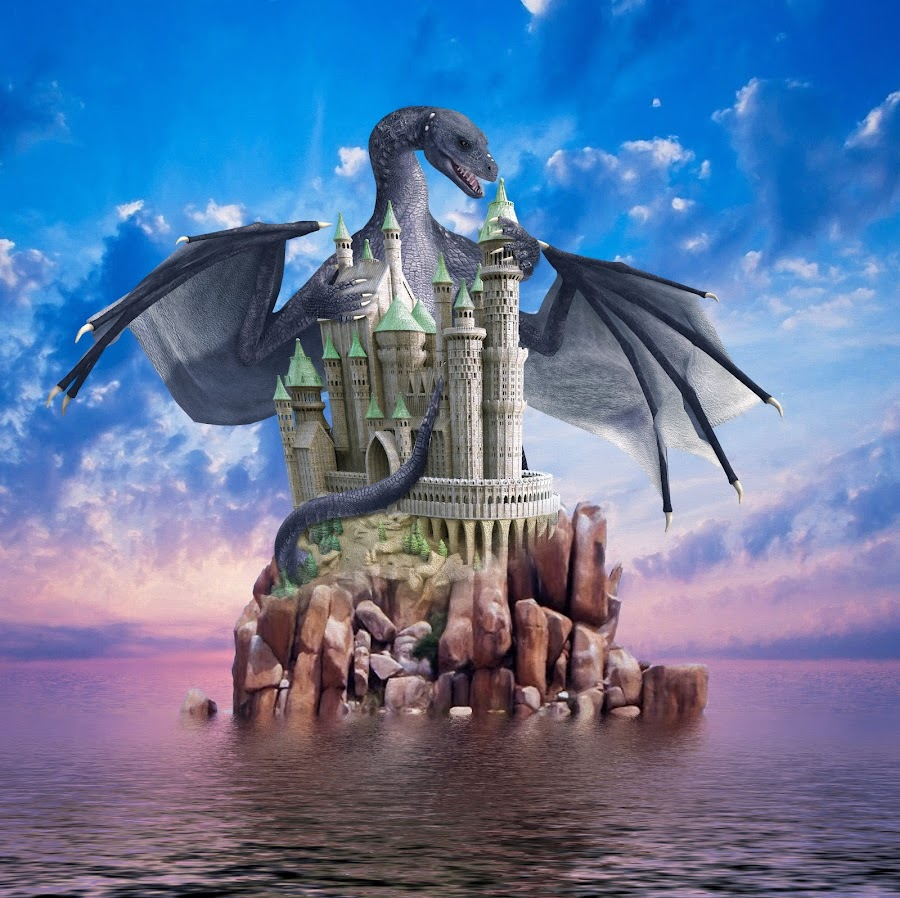 Dragon Island by Charlie Alolkoy - Illustration Sci Fi & Fantasy ( clouds, water, sky, dragon, castle, ocean, island )