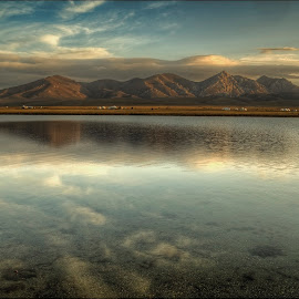 lake Son-Kul by Petr Klingr - Landscapes Waterscapes ( mountains, hdri, hdr, clouds, lake, mirrored reflections, landscape )