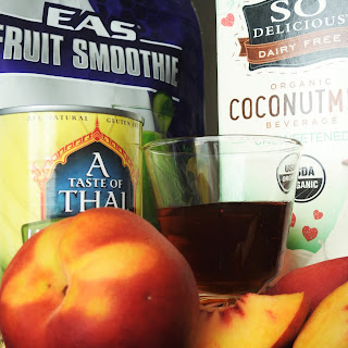 Coconut Peach Protein Smoothie.