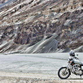 Royal Enfield at White Desert by Mangesh Jadhav - Transportation Motorcycles