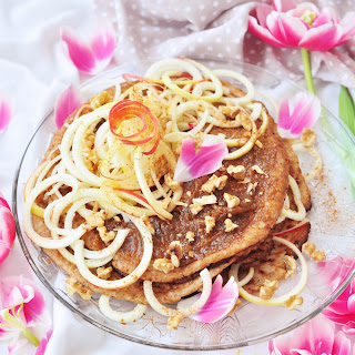 Stacked Pancakes With Ginger Filling And Twisted Apple.