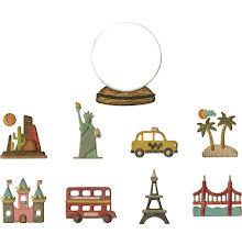 Tim Holtz Sizzix Thinlits Die Set 10PK - Tiny Travel Globe