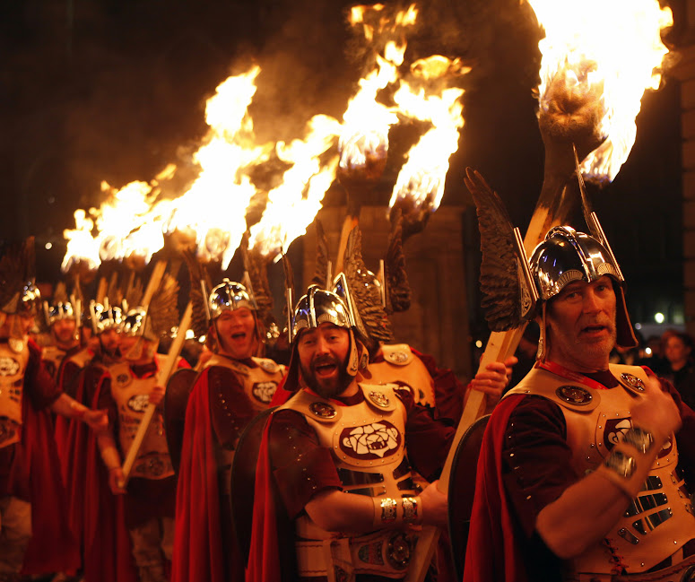 Edinburgh's Hogmanay - Torchlight Procession - Up Helly Aa Vikings - credit lloyd Smith