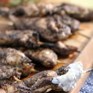 Jerk Chicken Skewers with Pineapple Yogurt Dip