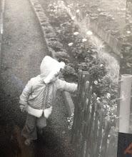 Photo: Blumen und Obstbeete sind hier noch ordentlich und gepflegt vom Opa. Mein Bruder Peter bei der Inspektion.