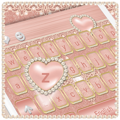Metallic Rose Gold Keyboard Heart Theme