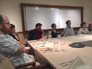 Photo: Dinner before Jamy's performance with faculty and PoPUS student researchers