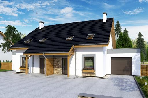 projekt Azalia z garażem 1-st. bliźniak A-BL1