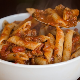 Best Ever Slow Cooker Meat Sauce with Pasta.