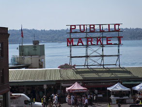 Photo: Pike Place public market where they throw the fish.