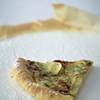 Pizza with Potatoes, Gorgonzola and Rosemary.