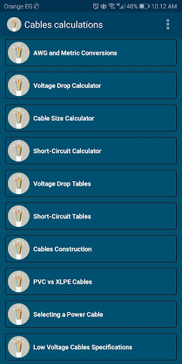 Screenshot for Voltage drop / Cable size /Short circuit Calcs in United States Play Store
