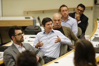 Photo: AMBA students pitch their new business ideas to an entrepreneur board.(John Russell/Vanderbilt University)