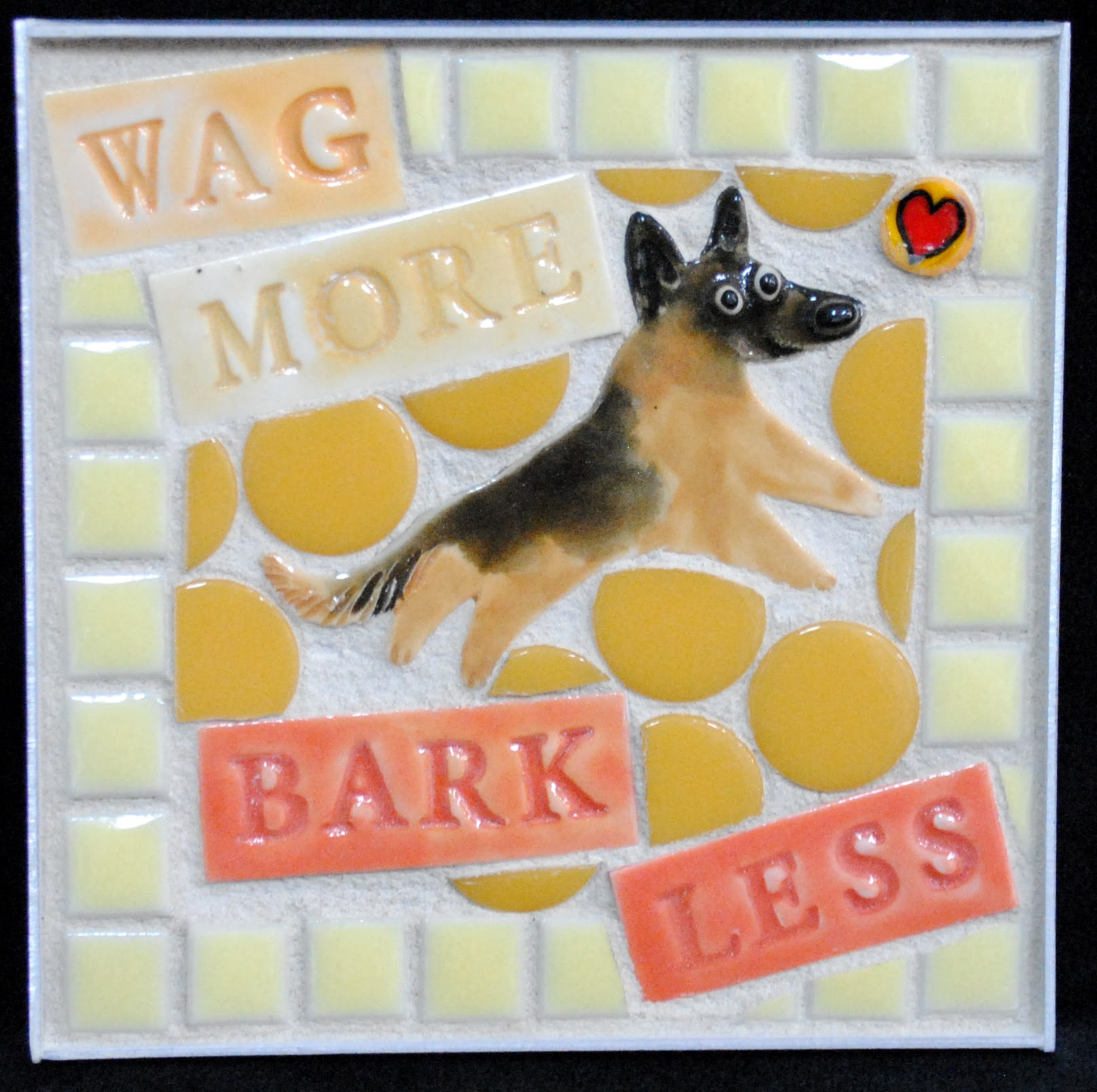 Wag More Bark Less German Shepherd Mini Mosaic by Brenda Pokorny