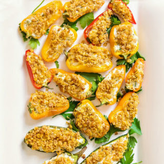 Goat Cheese Stuffed Baked Pepper Poppers